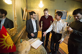 From left: Daniel G. Streicker, Dominic Schmidt, Weizhe Hong och Gabriel Victora. Photo: Mikael Wallerstedt.