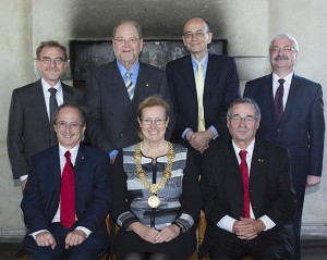 Above from left: Randy Schekman, James Rothman, Thomas Südhof, Attila Zimonyi. Below from left: Michael Levitt, Eva Åkesson, Arieh Warshel. Foto: Mikael Wallerstedt.